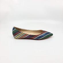 Kana尖头彩色间闪亮平底鞋