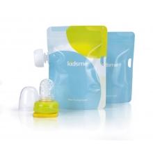 Reusable Food Pouch with Adaptor set (160489 LI,Pattern Pouchx2)-Lime 食物袋2只装+咀嚼器单只装(绿色)