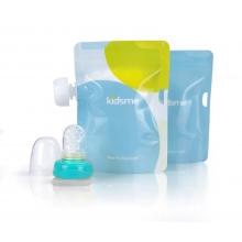 Reusable Food Pouch with Adaptor set (160489 LI,Pattern Pouchx2)-Aquamarine 食物袋2只装+咀嚼器单只装(蓝色)